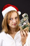 Christmas girl with christmas tree Stock Photography