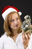 Christmas girl with christmas tree Royalty Free Stock Images