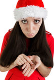 Christmas Girl with Coins Royalty Free Stock Image
