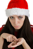Christmas Girl with Coins Stock Images