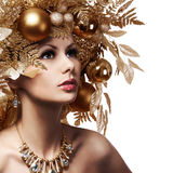 Christmas Girl with Decorated Hairstyle. Portrait of Beautiful Royalty Free Stock Image
