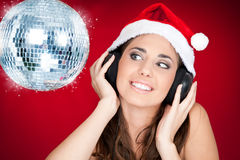 Christmas girl with disco ball Royalty Free Stock Images