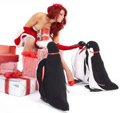 Christmas Girl in dress holding a large toy penquin. Royalty Free Stock Photo