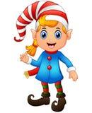 Christmas girl elf character waving hands Royalty Free Stock Image
