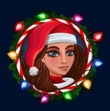 Christmas Girl in frame Stock Images