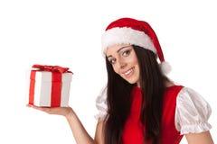 Christmas girl with gift. Stock Image