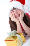 Christmas Girl With Gift Royalty Free Stock Image