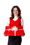Christmas girl with gift box Royalty Free Stock Image