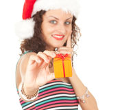 Christmas girl with gift box Stock Images