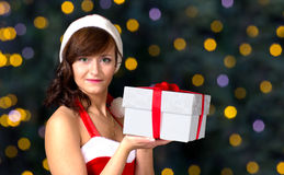 Christmas girl with gift Stock Photography
