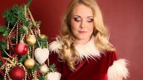 Christmas girl and gift stock video