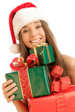 Christmas girl with gifts Royalty Free Stock Photography