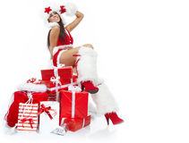 Christmas girl with gifts Royalty Free Stock Images