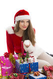 Christmas girl, gifts and snow Stock Image