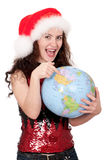 Christmas girl with globe Royalty Free Stock Photo