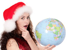 Christmas girl with globe stock photography