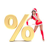 Christmas girl with gold 3d percent sign. Against isolated white background Royalty Free Stock Image