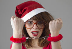 Christmas Girl handcuffed Royalty Free Stock Image
