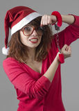 Christmas Girl handcuffed Royalty Free Stock Photo