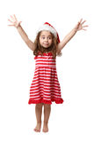 Christmas Girl with hands in the air Stock Image