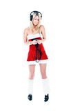 Christmas girl in headphones Royalty Free Stock Photography