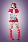 Christmas girl hold gift box Royalty Free Stock Images