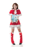 Christmas girl hold gift box Royalty Free Stock Photography