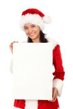 Christmas girl holding add Stock Image