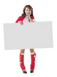 Christmas girl holding a blank board Stock Photography