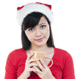 Christmas Girl Holding A Cup Royalty Free Stock Photo