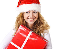 Christmas girl holding gift Royalty Free Stock Photos
