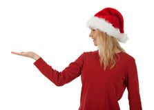 Christmas girl holding hand palm up Stock Photos