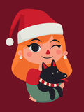 Christmas Girl Holding her Dog Stock Image