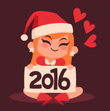Christmas Girl Holding a 2016 New Year Sign. Vector illustration of a cartoon christmas girl holding a 2016 new year sign. There are hearts in the background vector illustration