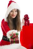 Christmas girl holding present Royalty Free Stock Photo