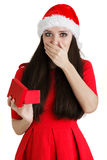 Christmas Girl Holding Present Box Stock Photo