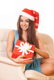 Christmas girl holding red gift box Stock Image