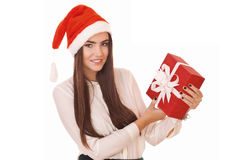 Christmas girl holding red gift box Stock Image