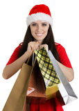Christmas Girl Holding Shopping Bags Stock Photos