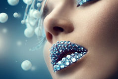Christmas girl. Holiday makeup Royalty Free Stock Images