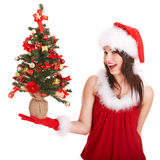 Christmas Girl In Santa Hat With Small Fir Tree Royalty Free Stock Image