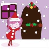 christmas girl inviting to house Stock Image