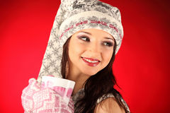 Christmas girl with knitted gloves Royalty Free Stock Photos