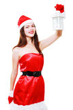 Christmas girl lantern Stock Photos