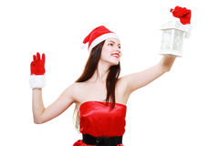 Christmas girl lantern Stock Images