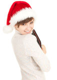 Christmas girl with laptop Royalty Free Stock Photography