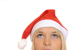 Christmas girl looking up. Beautiful blond christmas girl looking up Royalty Free Stock Photo