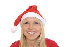 Christmas girl looks up Royalty Free Stock Images