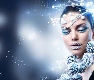 Christmas Girl Makeup. Winter Beauty Woman. Christmas Girl Makeup stock photo