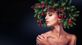Christmas girl makeup. Winter hairstyle Royalty Free Stock Photo